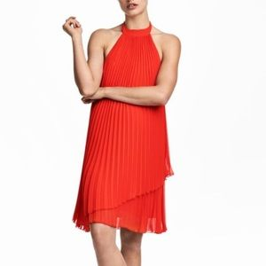 H&M Red Pleated Halter Dress